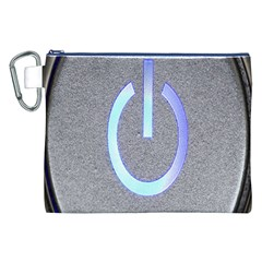 Close Up Of A Power Button Canvas Cosmetic Bag (xxl)