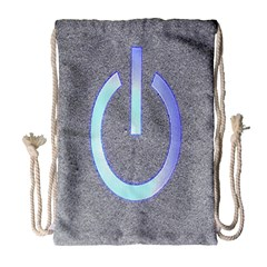 Close Up Of A Power Button Drawstring Bag (Large)