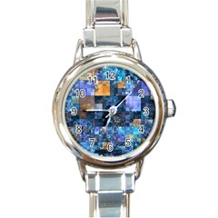 Blue Squares Abstract Background Of Blue And Purple Squares Round Italian Charm Watch