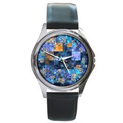 Blue Squares Abstract Background Of Blue And Purple Squares Round Metal Watch