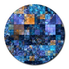 Blue Squares Abstract Background Of Blue And Purple Squares Round Mousepads