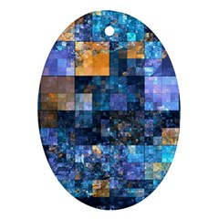 Blue Squares Abstract Background Of Blue And Purple Squares Ornament (Oval)
