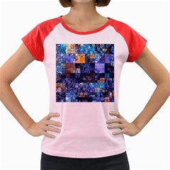 Blue Squares Abstract Background Of Blue And Purple Squares Women s Cap Sleeve T-Shirt