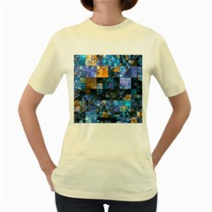 Blue Squares Abstract Background Of Blue And Purple Squares Women s Yellow T Shirt