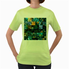Blue Squares Abstract Background Of Blue And Purple Squares Women s Green T Shirt