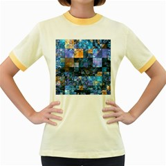 Blue Squares Abstract Background Of Blue And Purple Squares Women s Fitted Ringer T Shirts