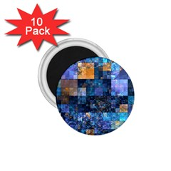 Blue Squares Abstract Background Of Blue And Purple Squares 1 75  Magnets (10 Pack)