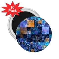 Blue Squares Abstract Background Of Blue And Purple Squares 2.25  Magnets (10 pack)