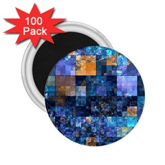 Blue Squares Abstract Background Of Blue And Purple Squares 2.25  Magnets (100 pack)