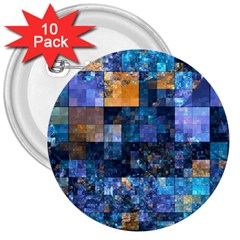 Blue Squares Abstract Background Of Blue And Purple Squares 3  Buttons (10 pack)