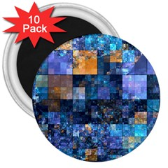Blue Squares Abstract Background Of Blue And Purple Squares 3  Magnets (10 pack)