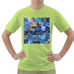 Blue Squares Abstract Background Of Blue And Purple Squares Green T-Shirt