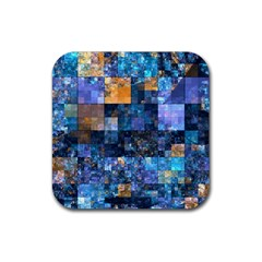 Blue Squares Abstract Background Of Blue And Purple Squares Rubber Square Coaster (4 Pack)