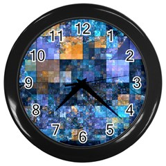 Blue Squares Abstract Background Of Blue And Purple Squares Wall Clocks (Black)