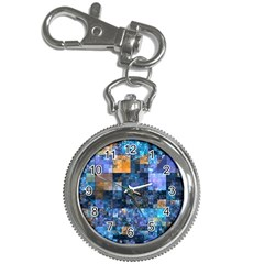 Blue Squares Abstract Background Of Blue And Purple Squares Key Chain Watches