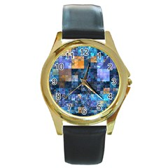 Blue Squares Abstract Background Of Blue And Purple Squares Round Gold Metal Watch