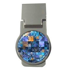 Blue Squares Abstract Background Of Blue And Purple Squares Money Clips (Round)