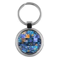 Blue Squares Abstract Background Of Blue And Purple Squares Key Chains (Round)