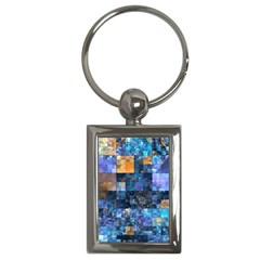 Blue Squares Abstract Background Of Blue And Purple Squares Key Chains (Rectangle)