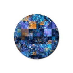 Blue Squares Abstract Background Of Blue And Purple Squares Rubber Coaster (Round)