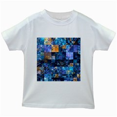 Blue Squares Abstract Background Of Blue And Purple Squares Kids White T-Shirts