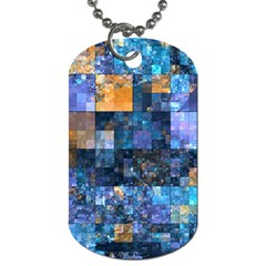 Blue Squares Abstract Background Of Blue And Purple Squares Dog Tag (One Side)