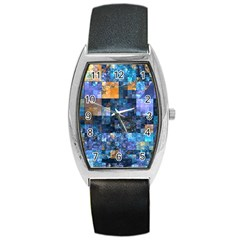 Blue Squares Abstract Background Of Blue And Purple Squares Barrel Style Metal Watch