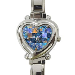 Blue Squares Abstract Background Of Blue And Purple Squares Heart Italian Charm Watch