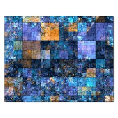 Blue Squares Abstract Background Of Blue And Purple Squares Rectangular Jigsaw Puzzl