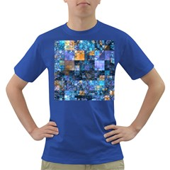 Blue Squares Abstract Background Of Blue And Purple Squares Dark T Shirt