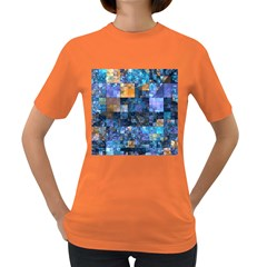 Blue Squares Abstract Background Of Blue And Purple Squares Women s Dark T-Shirt
