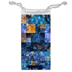 Blue Squares Abstract Background Of Blue And Purple Squares Jewelry Bag