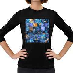 Blue Squares Abstract Background Of Blue And Purple Squares Women s Long Sleeve Dark T Shirts