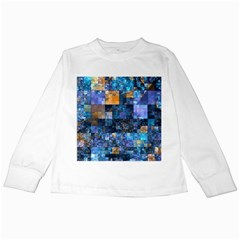 Blue Squares Abstract Background Of Blue And Purple Squares Kids Long Sleeve T-Shirts