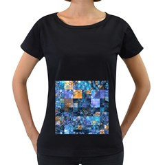 Blue Squares Abstract Background Of Blue And Purple Squares Women s Loose-Fit T-Shirt (Black)