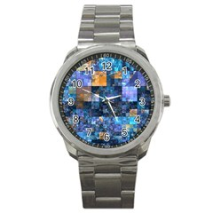 Blue Squares Abstract Background Of Blue And Purple Squares Sport Metal Watch