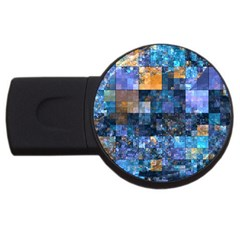 Blue Squares Abstract Background Of Blue And Purple Squares USB Flash Drive Round (4 GB)