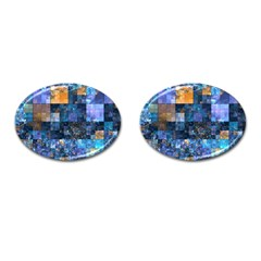 Blue Squares Abstract Background Of Blue And Purple Squares Cufflinks (Oval)