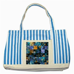 Blue Squares Abstract Background Of Blue And Purple Squares Striped Blue Tote Bag