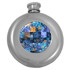 Blue Squares Abstract Background Of Blue And Purple Squares Round Hip Flask (5 oz)