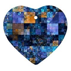 Blue Squares Abstract Background Of Blue And Purple Squares Heart Ornament (Two Sides)