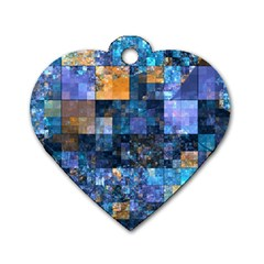 Blue Squares Abstract Background Of Blue And Purple Squares Dog Tag Heart (One Side)