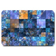 Blue Squares Abstract Background Of Blue And Purple Squares Large Doormat