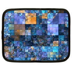 Blue Squares Abstract Background Of Blue And Purple Squares Netbook Case (large)