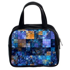 Blue Squares Abstract Background Of Blue And Purple Squares Classic Handbags (2 Sides)