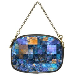 Blue Squares Abstract Background Of Blue And Purple Squares Chain Purses (One Side)