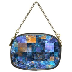 Blue Squares Abstract Background Of Blue And Purple Squares Chain Purses (Two Sides)