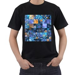 Blue Squares Abstract Background Of Blue And Purple Squares Men s T-Shirt (Black)