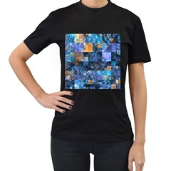 Blue Squares Abstract Background Of Blue And Purple Squares Women s T-Shirt (Black)
