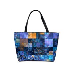 Blue Squares Abstract Background Of Blue And Purple Squares Shoulder Handbags